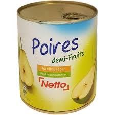 NETTO POIRES DEMI FRUITS AU SIROP LEGER